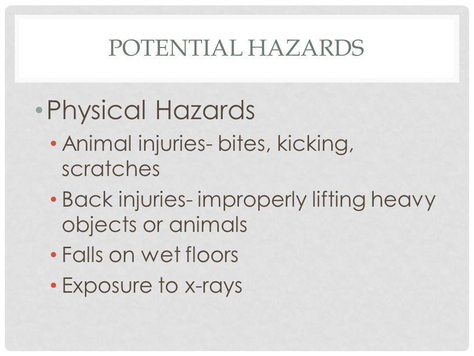 Physical Hazards Potential hazards
