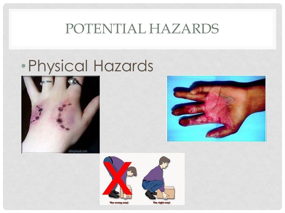 Potential hazards Physical Hazards