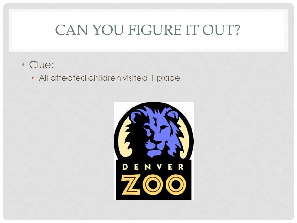 Can you figure it out Clue: All affected children visited 1 place