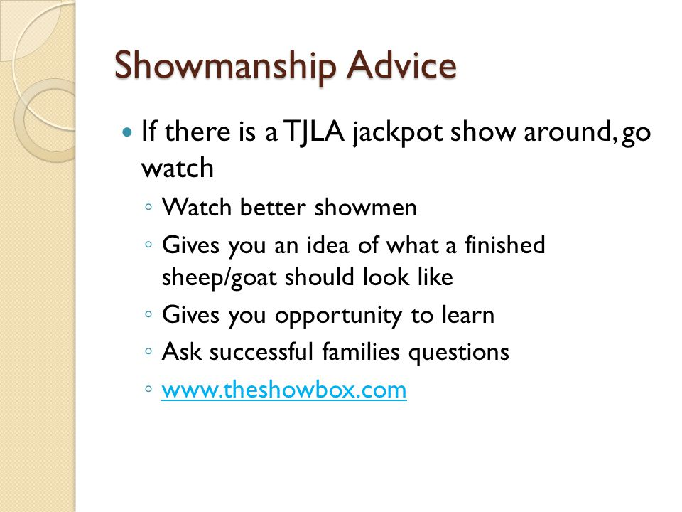 Showmanship Advice If there is a TJLA jackpot show around, go watch