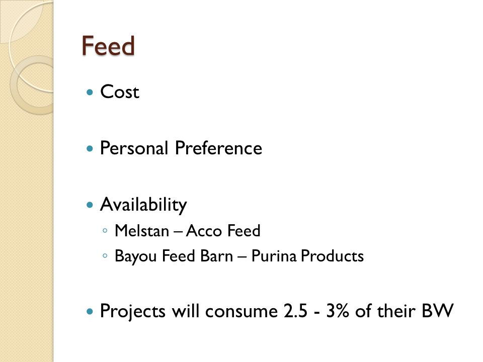 Feed Cost Personal Preference Availability