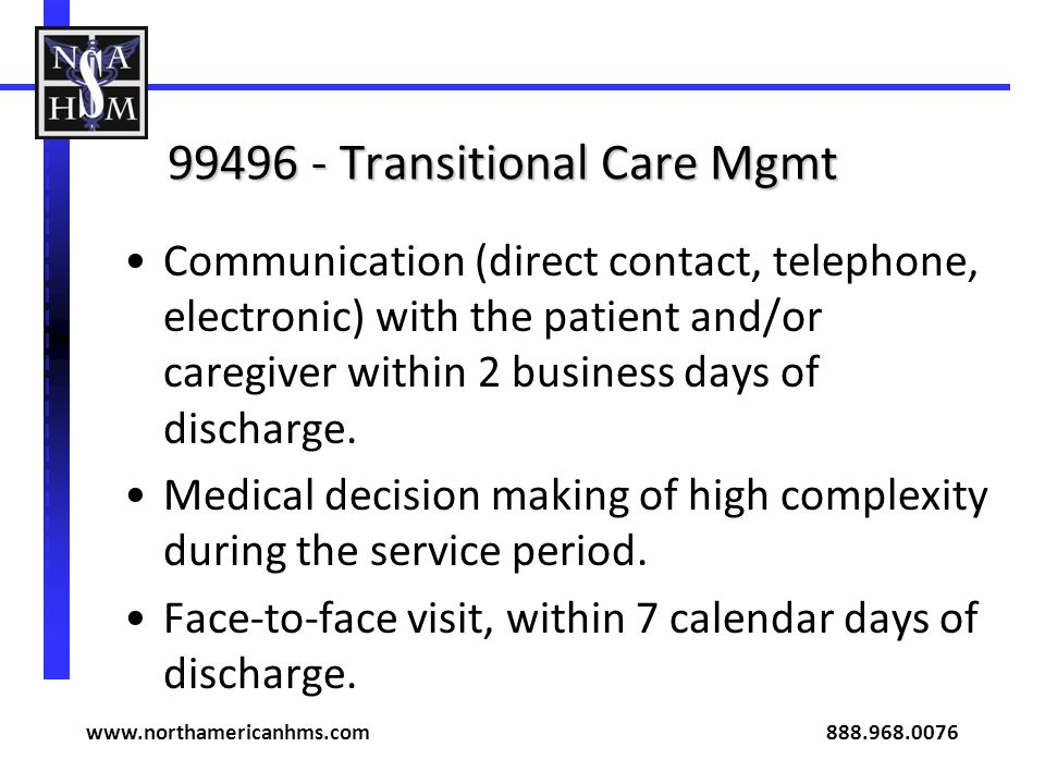 99496 - Transitional Care Mgmt