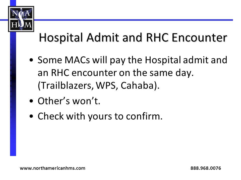 Hospital Admit and RHC Encounter