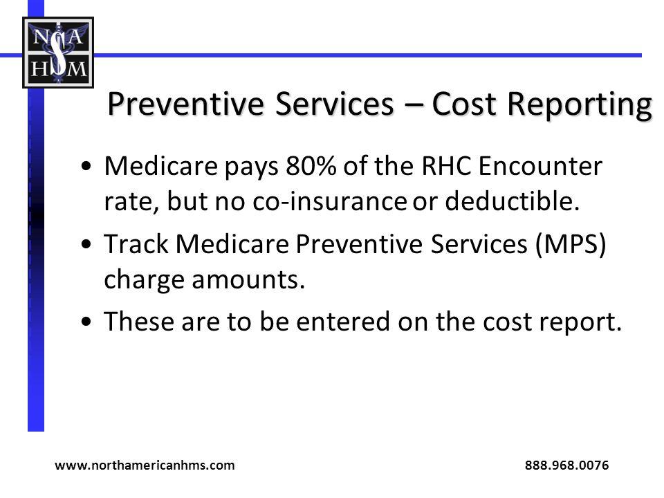 Preventive Services – Cost Reporting
