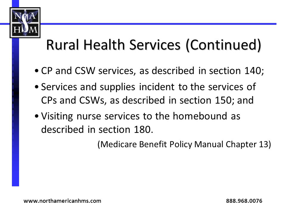 Rural Health Services (Continued)