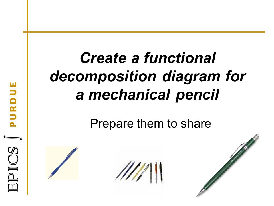 Create a functional decomposition diagram for a mechanical pencil