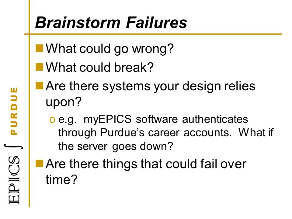 Brainstorm Failures What could go wrong What could break