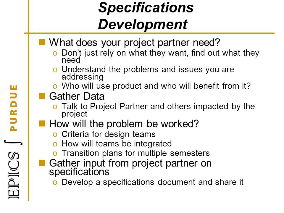 Specifications Development