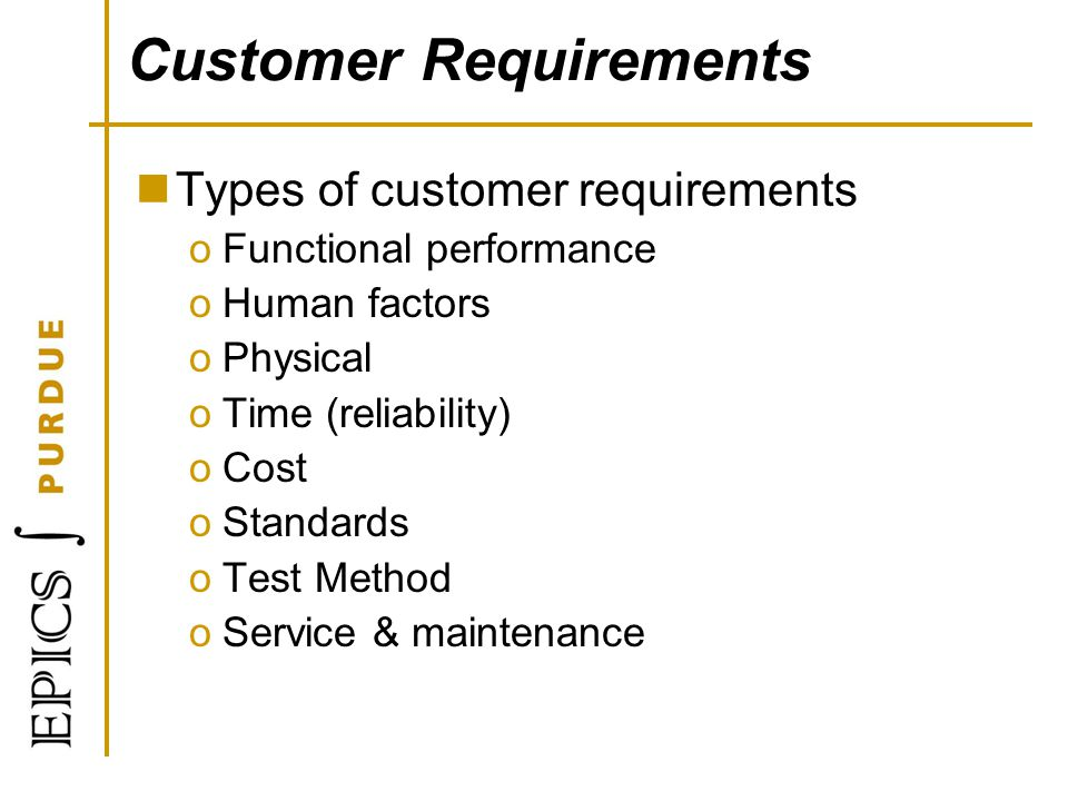 Customer Requirements