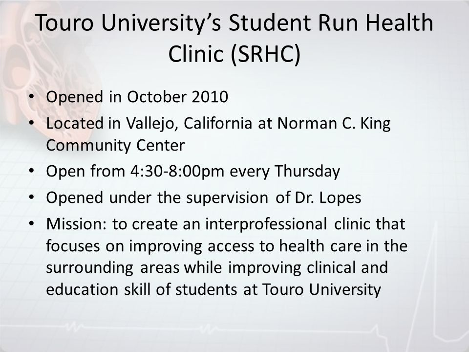 Touro University's Student Run Health Clinic (SRHC)