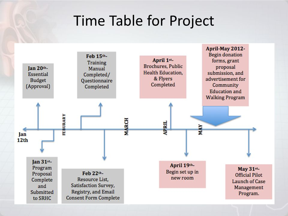 Time Table for Project