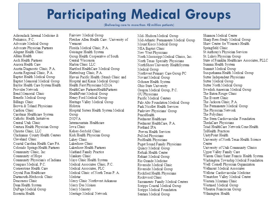 Participating Medical Groups