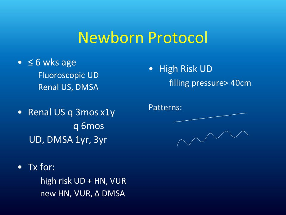 Newborn Protocol ≤ 6 wks age High Risk UD filling pressure> 40cm