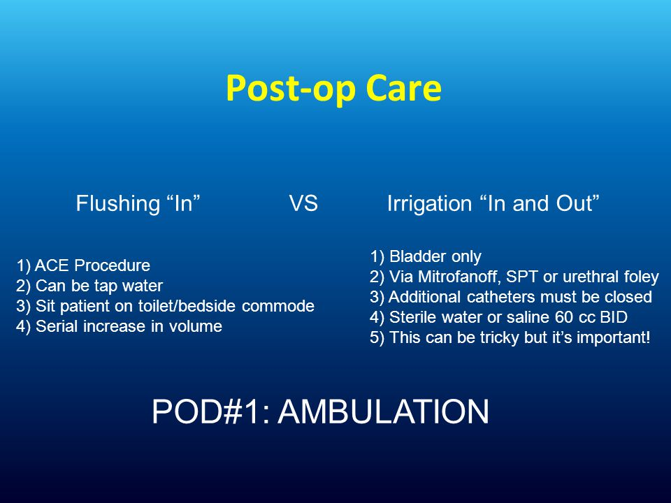 Post-op Care POD#1: AMBULATION Flushing In VS