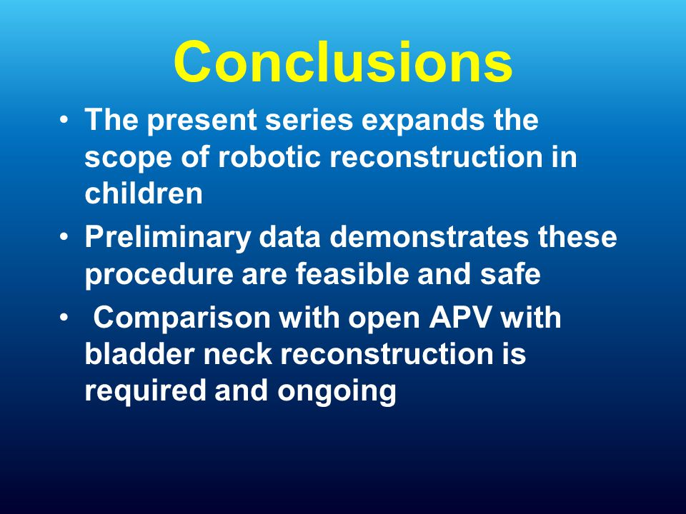 Conclusions The present series expands the scope of robotic reconstruction in children.