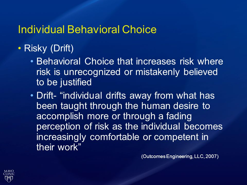 Individual Behavioral Choice