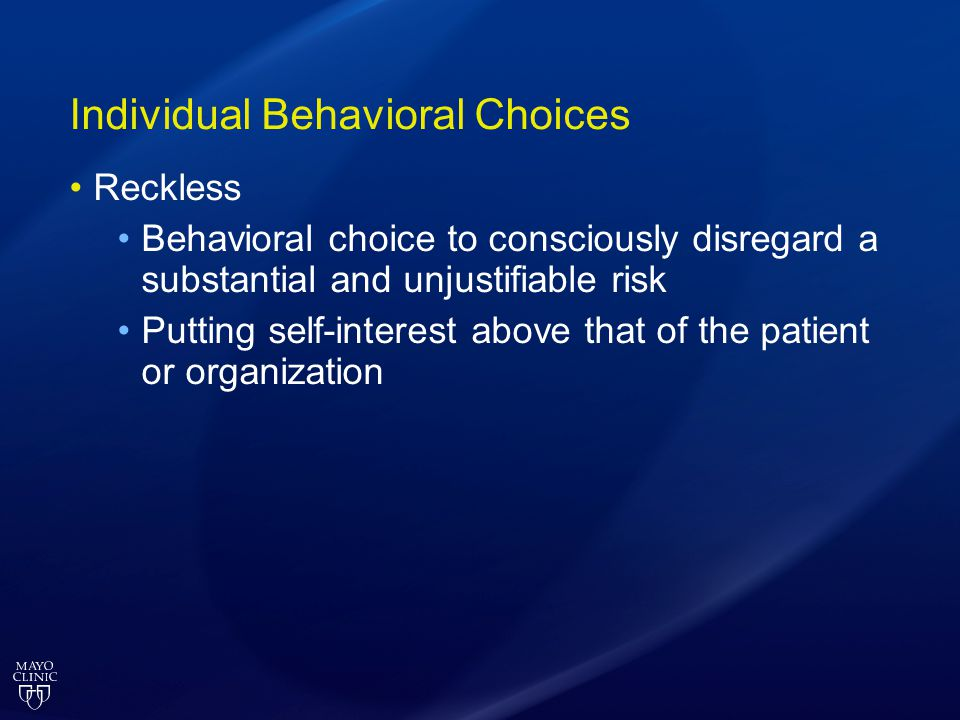 Individual Behavioral Choices