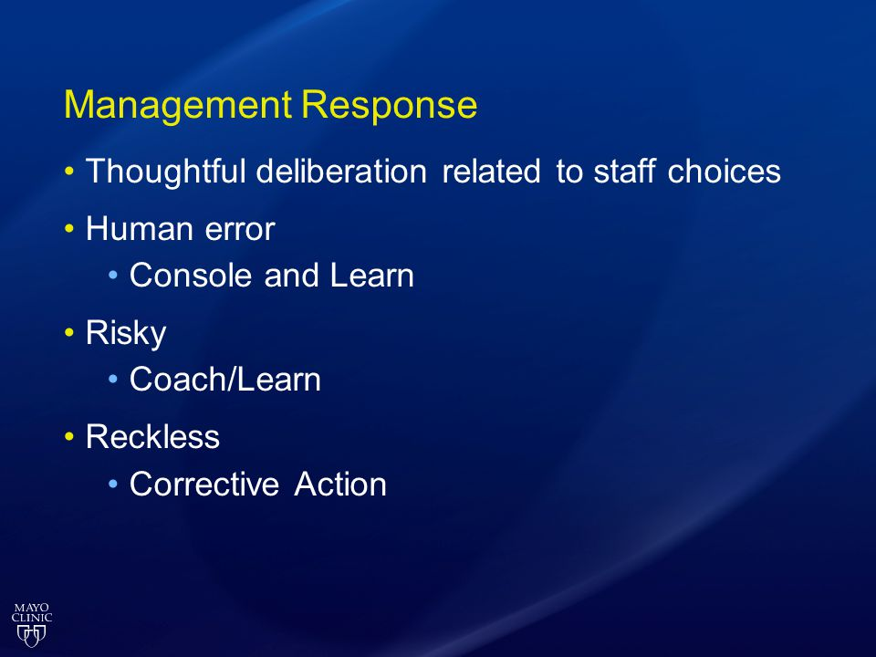 Management Response Thoughtful deliberation related to staff choices