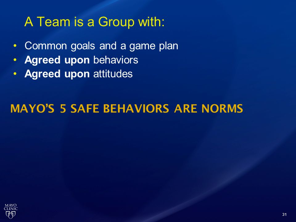 A Team is a Group with: MAYO'S 5 SAFE BEHAVIORS ARE NORMS