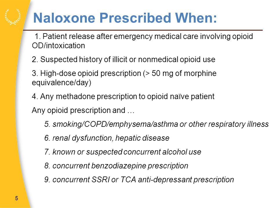 Naloxone Prescribed When: