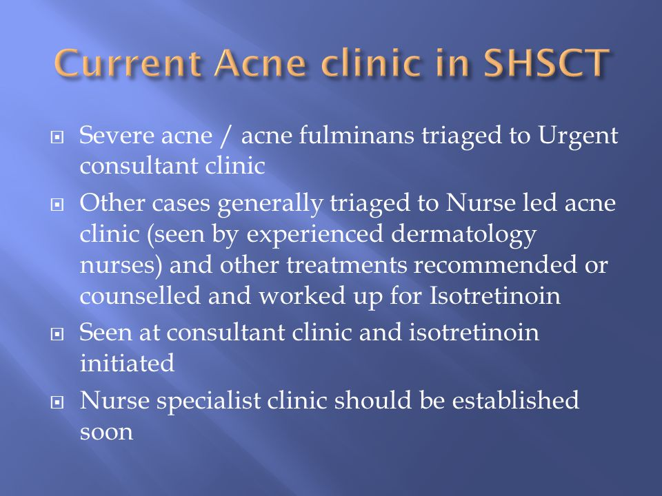 Current Acne clinic in SHSCT