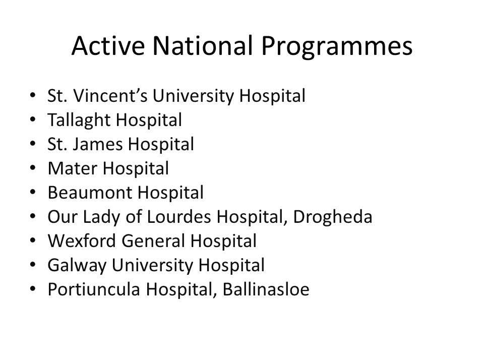 Active National Programmes