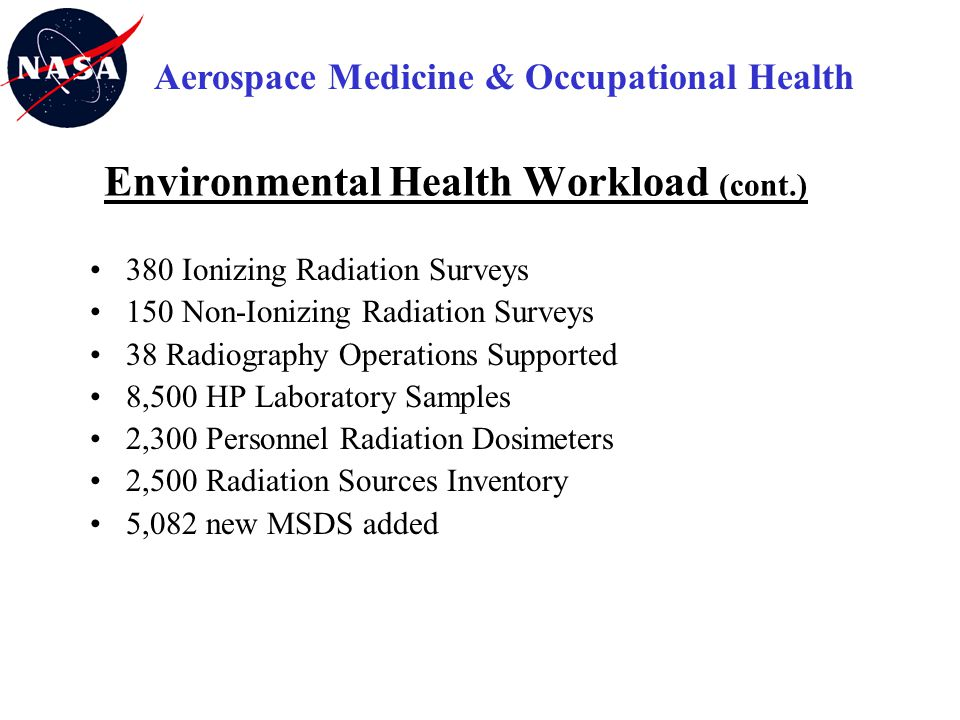 Environmental Health Workload (cont.)