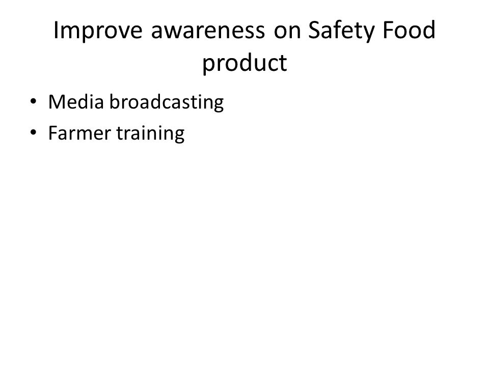 Improve awareness on Safety Food product