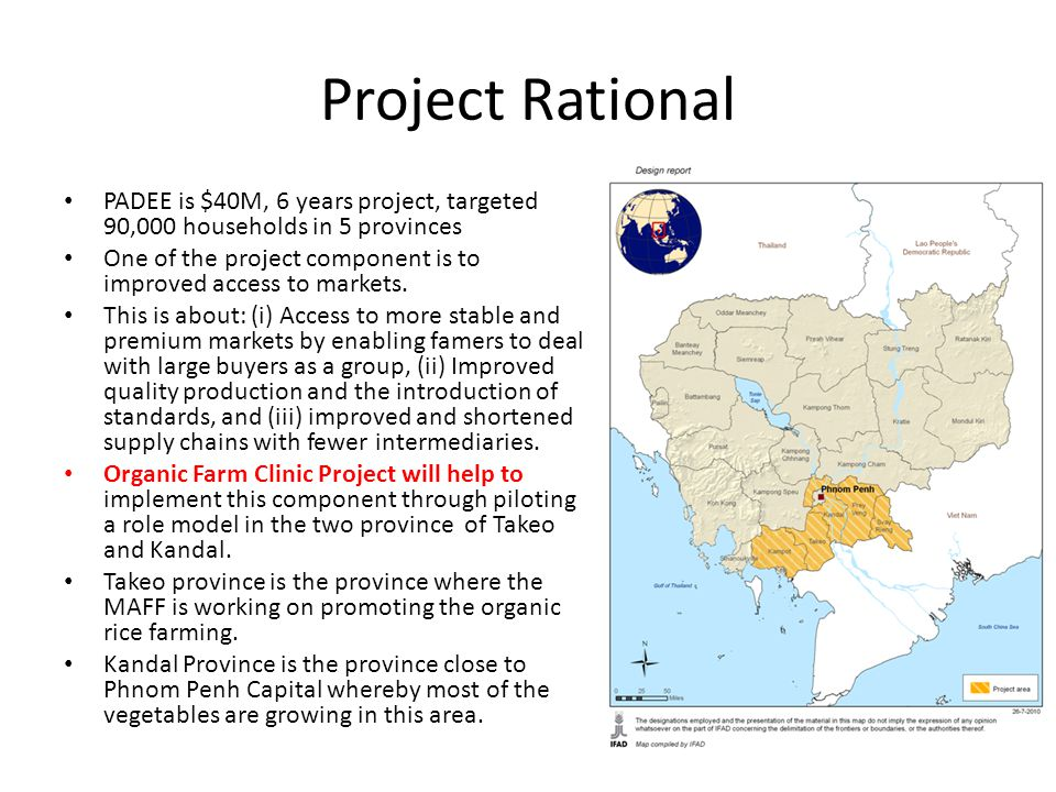 Project Rational PADEE is $40M, 6 years project, targeted 90,000 households in 5 provinces.