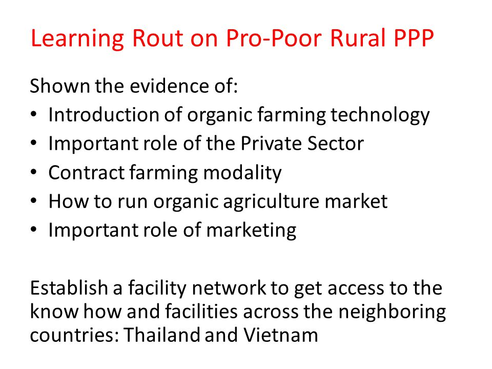 Learning Rout on Pro-Poor Rural PPP