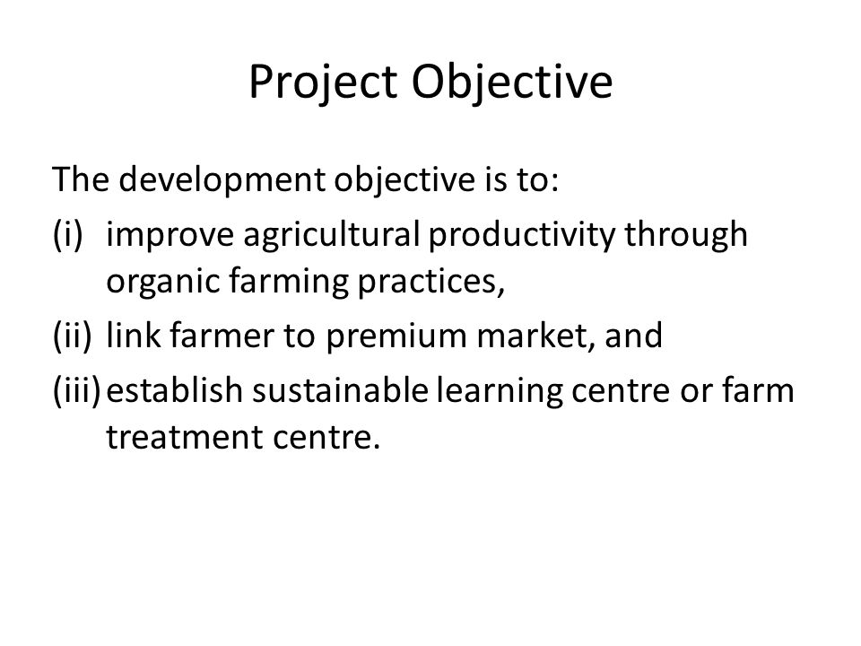 Project Objective The development objective is to: