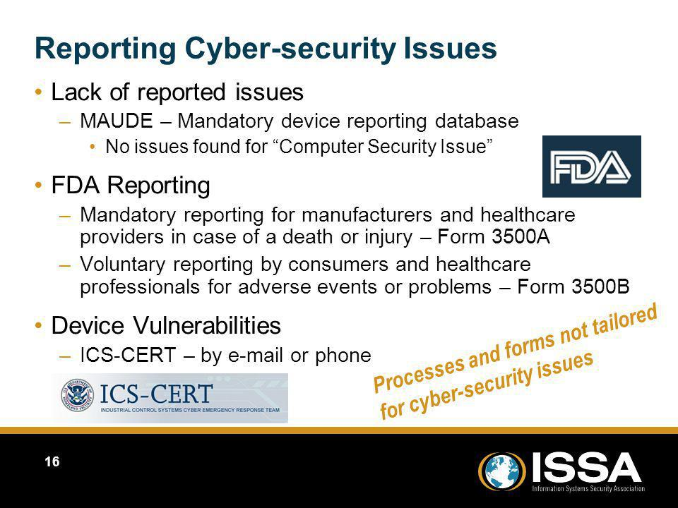 Reporting Cyber-security Issues