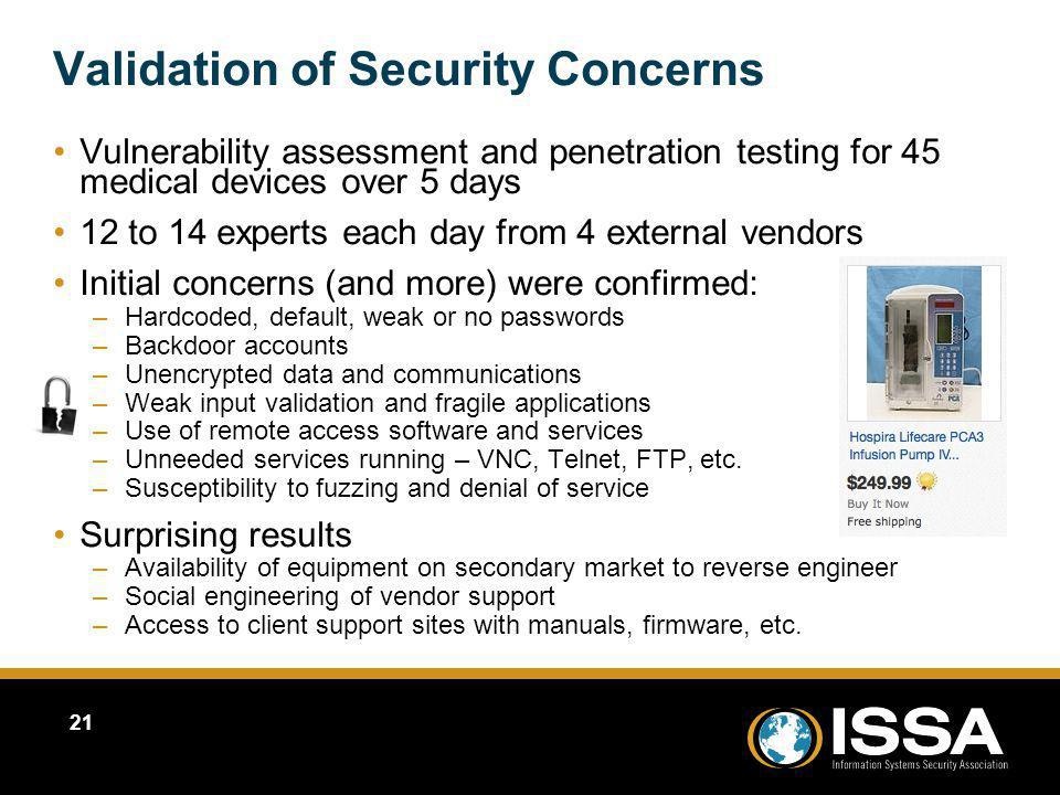 Validation of Security Concerns
