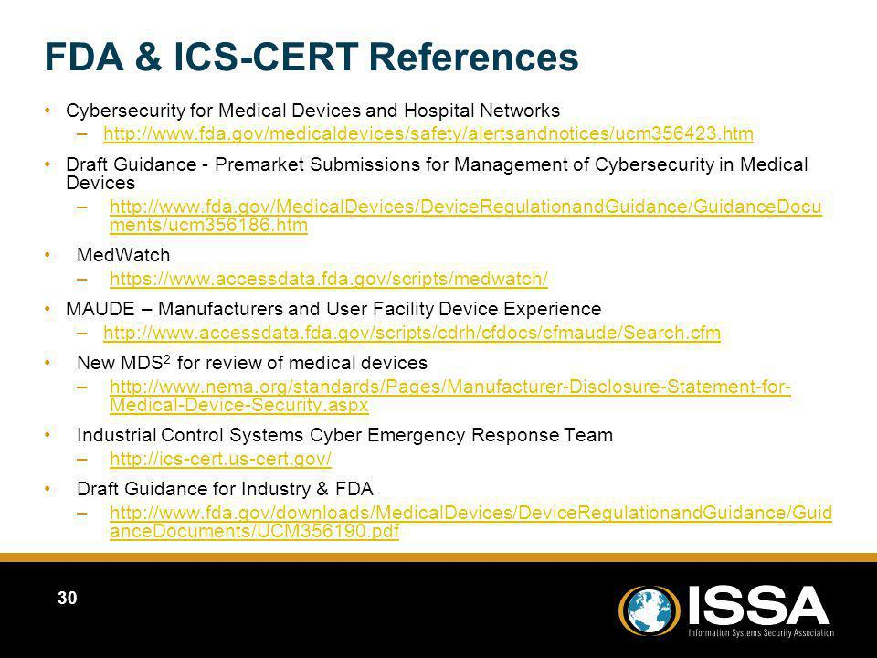 FDA & ICS-CERT References