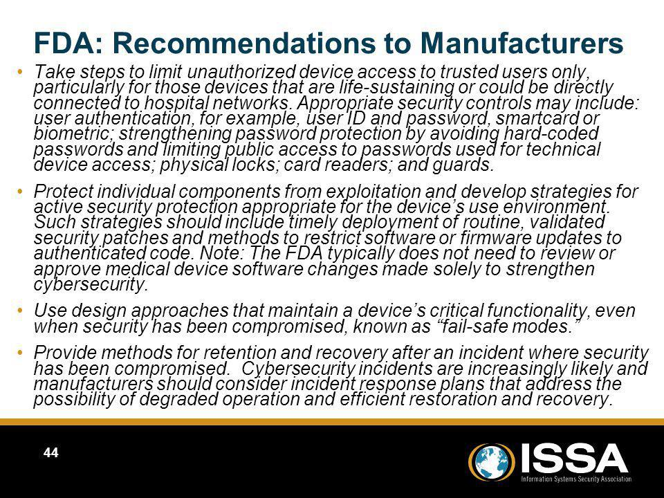 FDA: Recommendations to Manufacturers