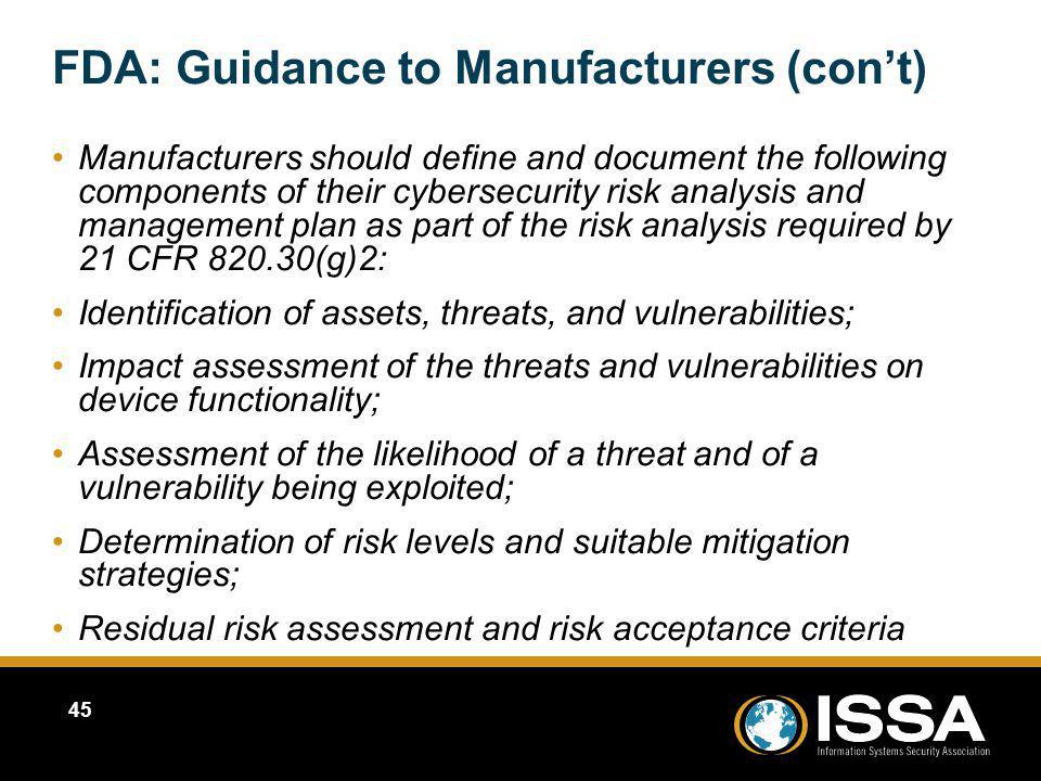 FDA: Guidance to Manufacturers (con't)