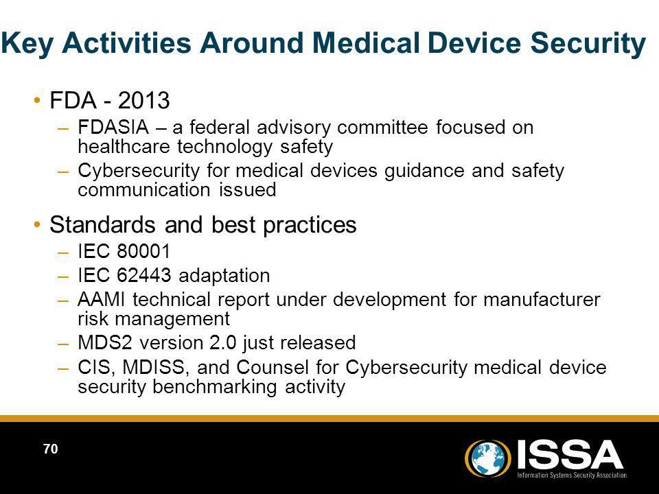 Key Activities Around Medical Device Security