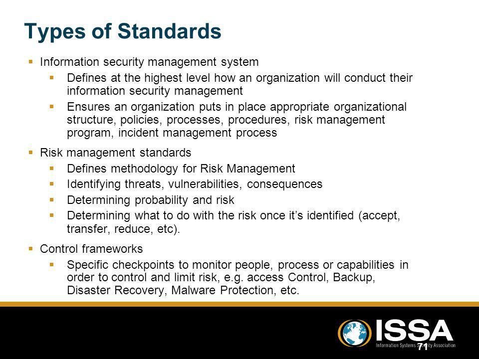 Types of Standards Information security management system
