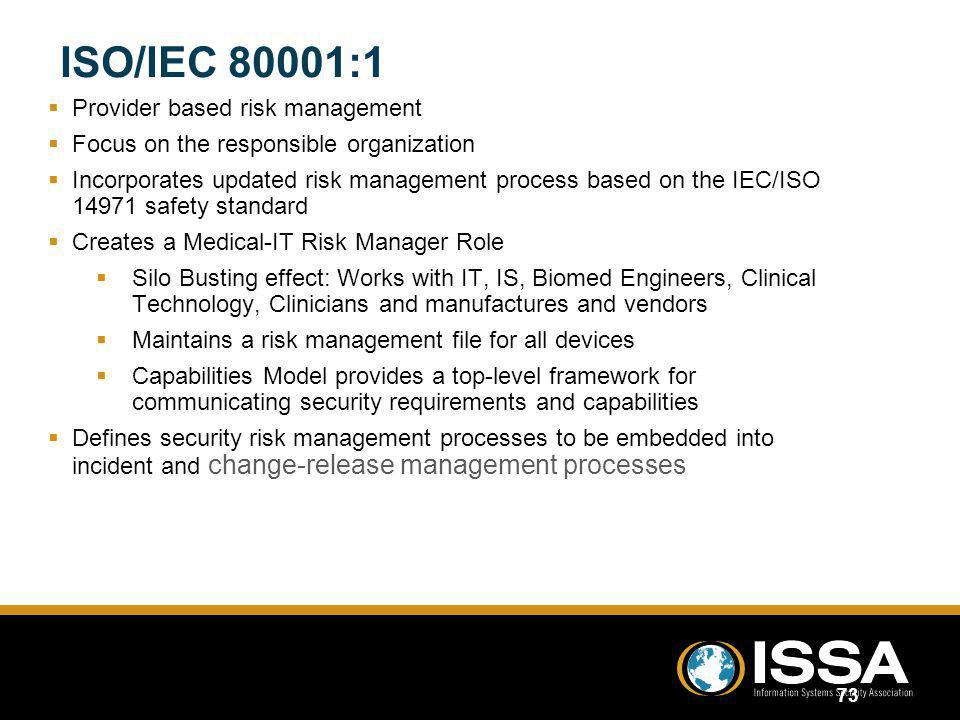 ISO/IEC 80001:1 Provider based risk management