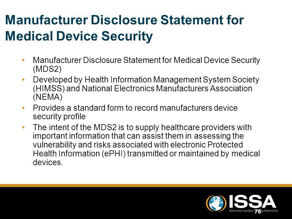 Manufacturer Disclosure Statement for Medical Device Security