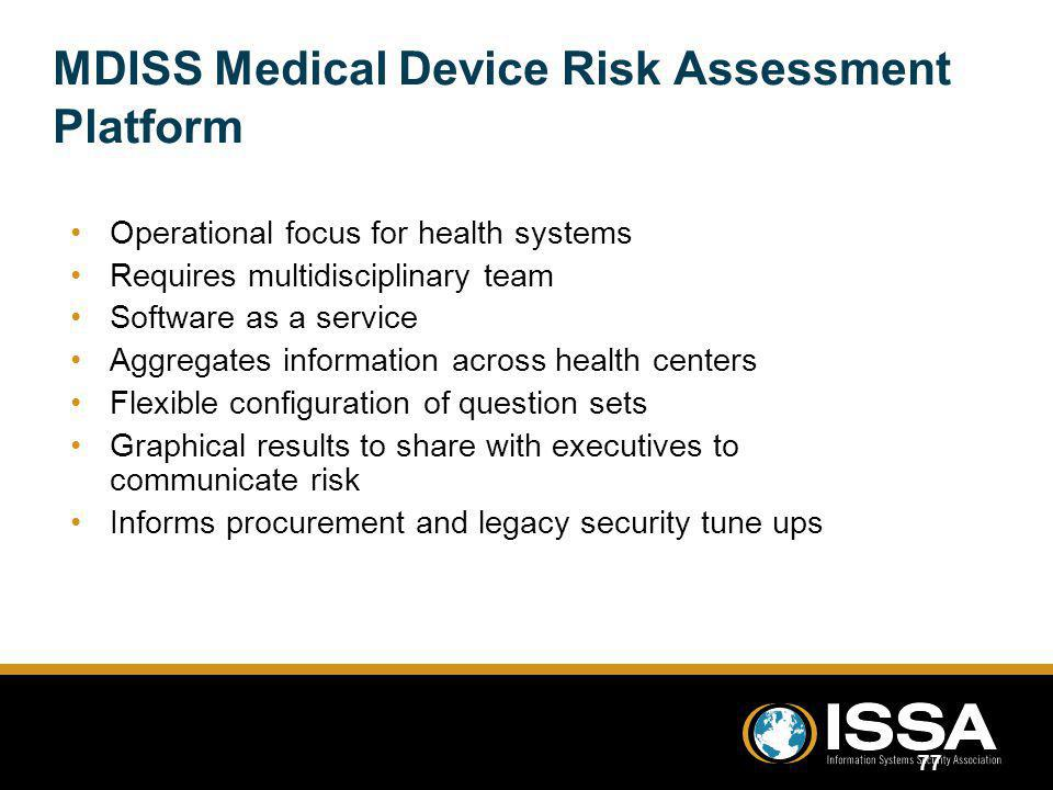 MDISS Medical Device Risk Assessment Platform