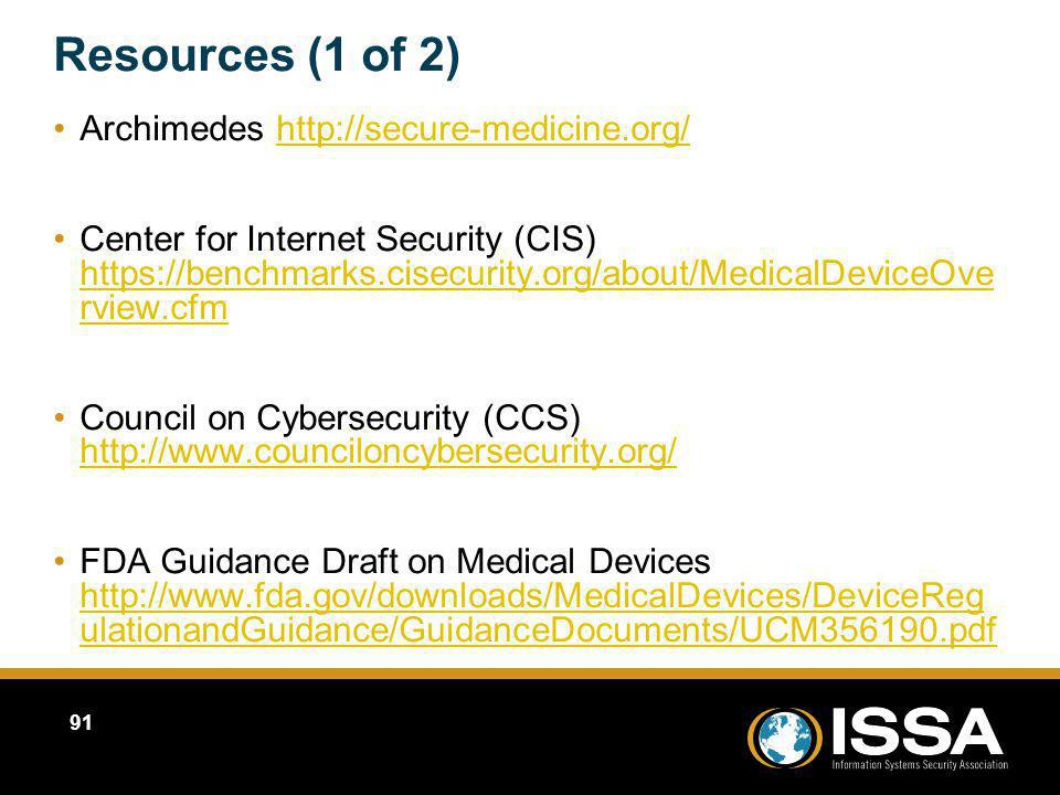 Resources (1 of 2) Archimedes http://secure-medicine.org/
