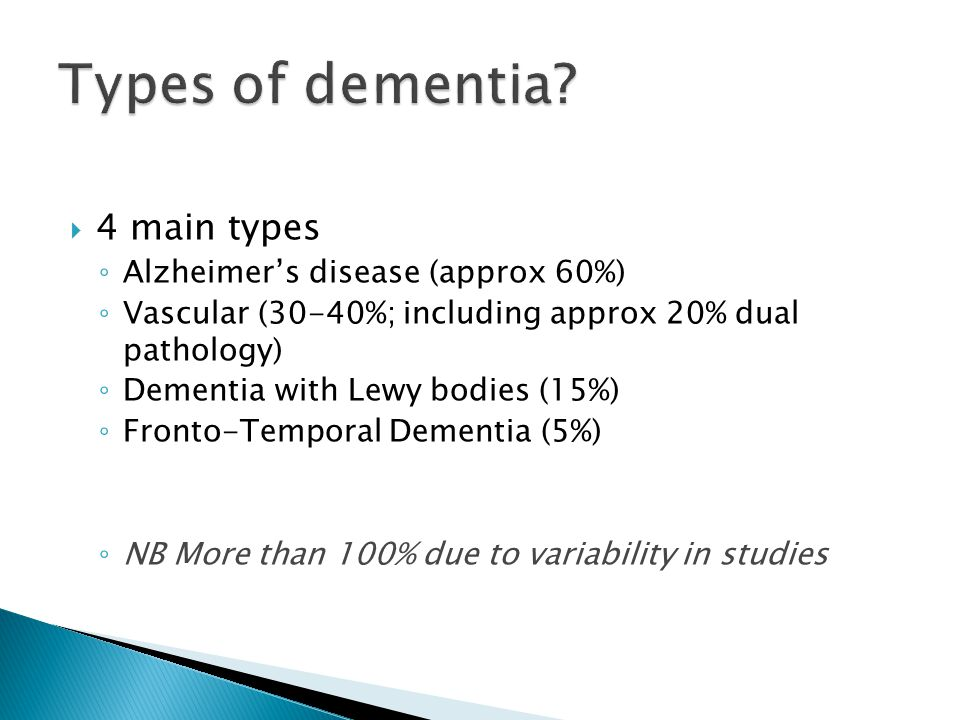 Types of dementia 4 main types Alzheimer's disease (approx 60%)