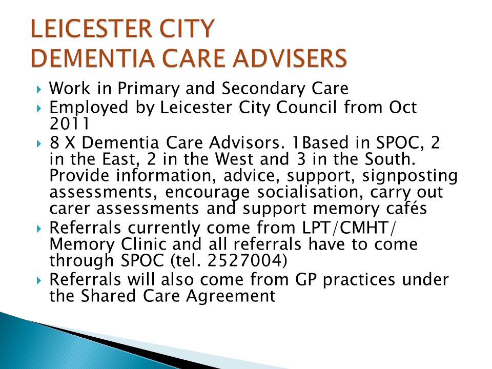 LEICESTER CITY DEMENTIA CARE ADVISERS