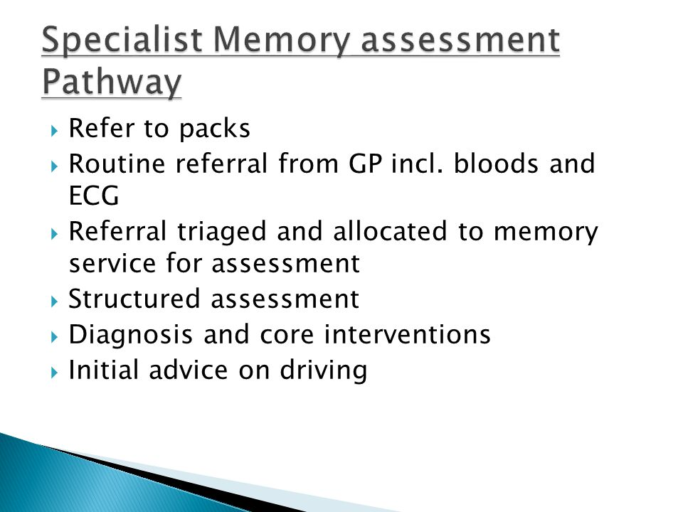Specialist Memory assessment Pathway