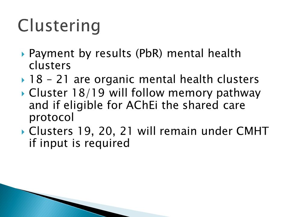 Clustering Payment by results (PbR) mental health clusters