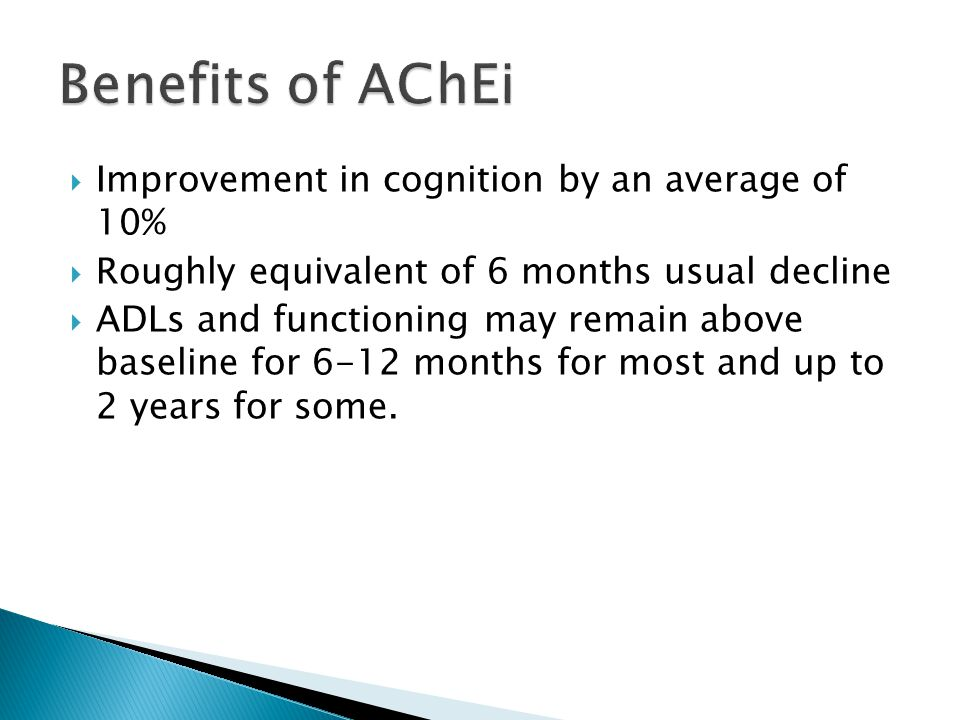 Benefits of AChEi Improvement in cognition by an average of 10%