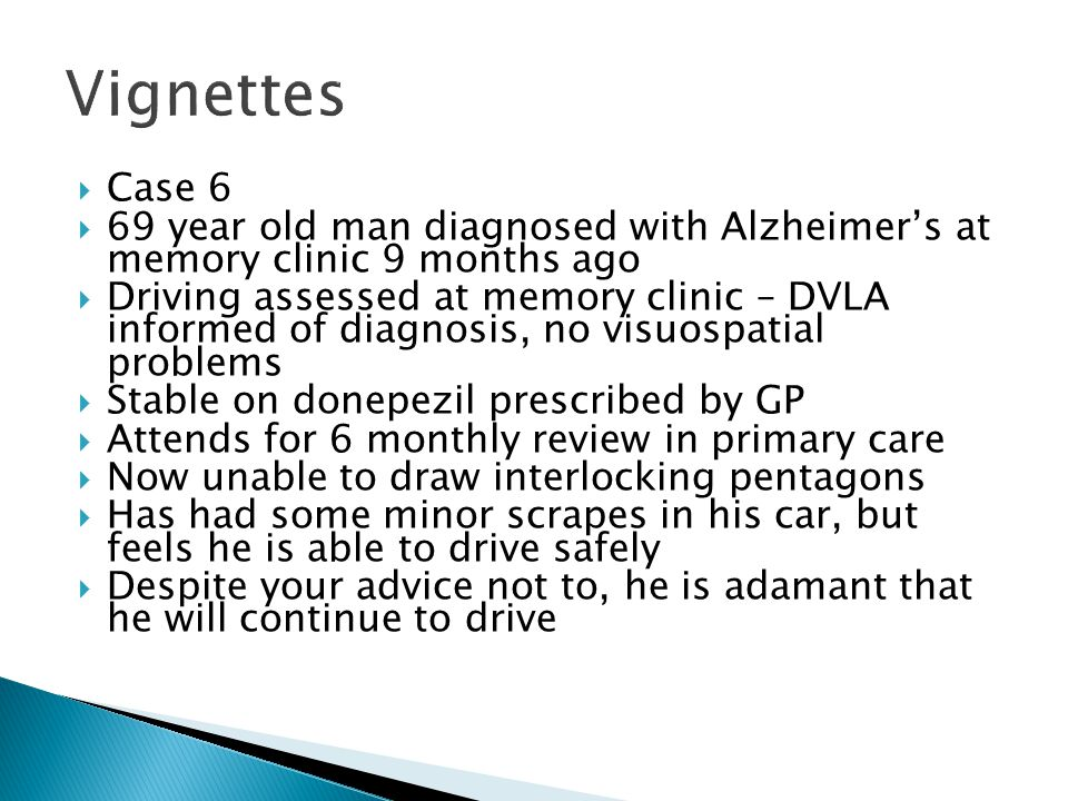 Vignettes Case 6. 69 year old man diagnosed with Alzheimer's at memory clinic 9 months ago.