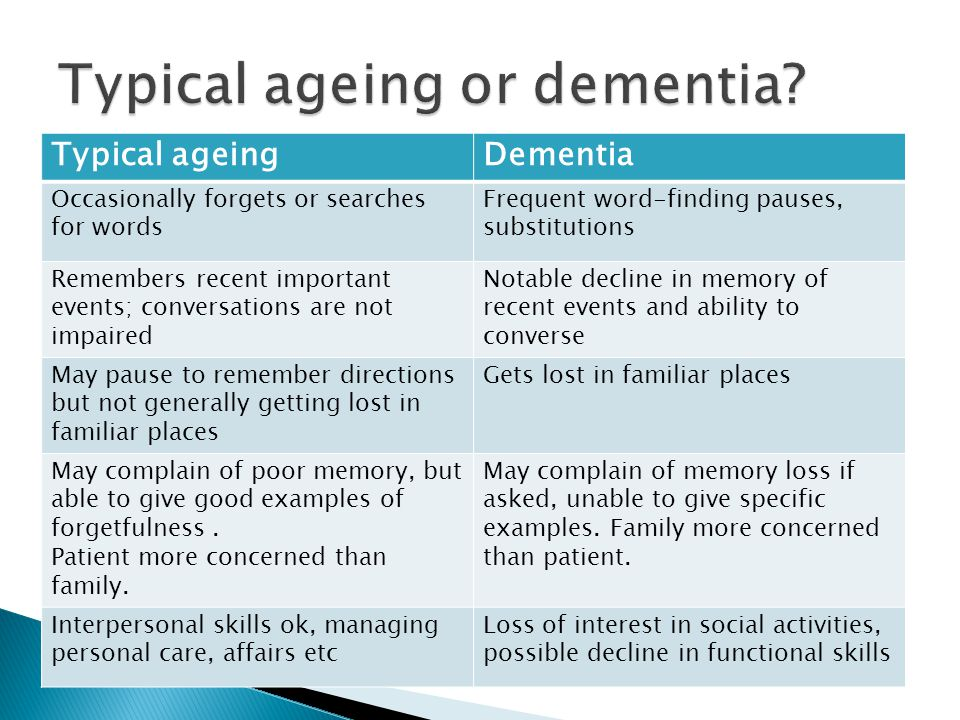 Typical ageing or dementia