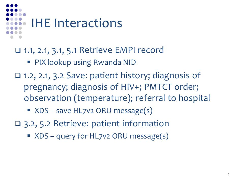 IHE Interactions 1.1, 2.1, 3.1, 5.1 Retrieve EMPI record